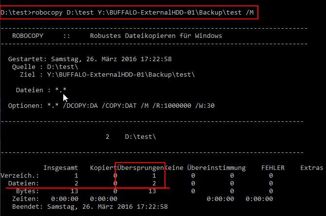 Robocopy sichert nur archivierbare Dateien